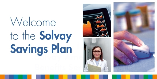 Split image. A female medical worker. A hand on a computer mouse. The corner of a tablet computer. Welcome to the Solvay Savings Plan